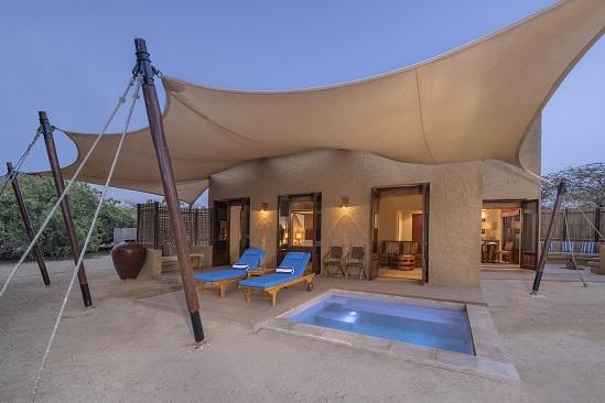 R02 Anantara_Sir_Bani_Yas_Island_Al_Sahel_Villa_Resort_Guest_Room_One_Bedroom_Pool_Villa_Exterior_View_with_Plunge_Pool