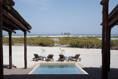 R05 Anantara_Sir_Bani_Yas_Island_Al_Yamm_Villa_Resort_Guest_Room_Two_Bedroom_Anantara_Pool_Villa_Exterior_Mangrove_View_with_Pool