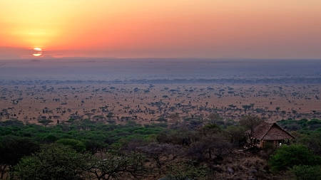 Serengeti-Pioneer-Camp---View-of-lounge-and-sunrise
