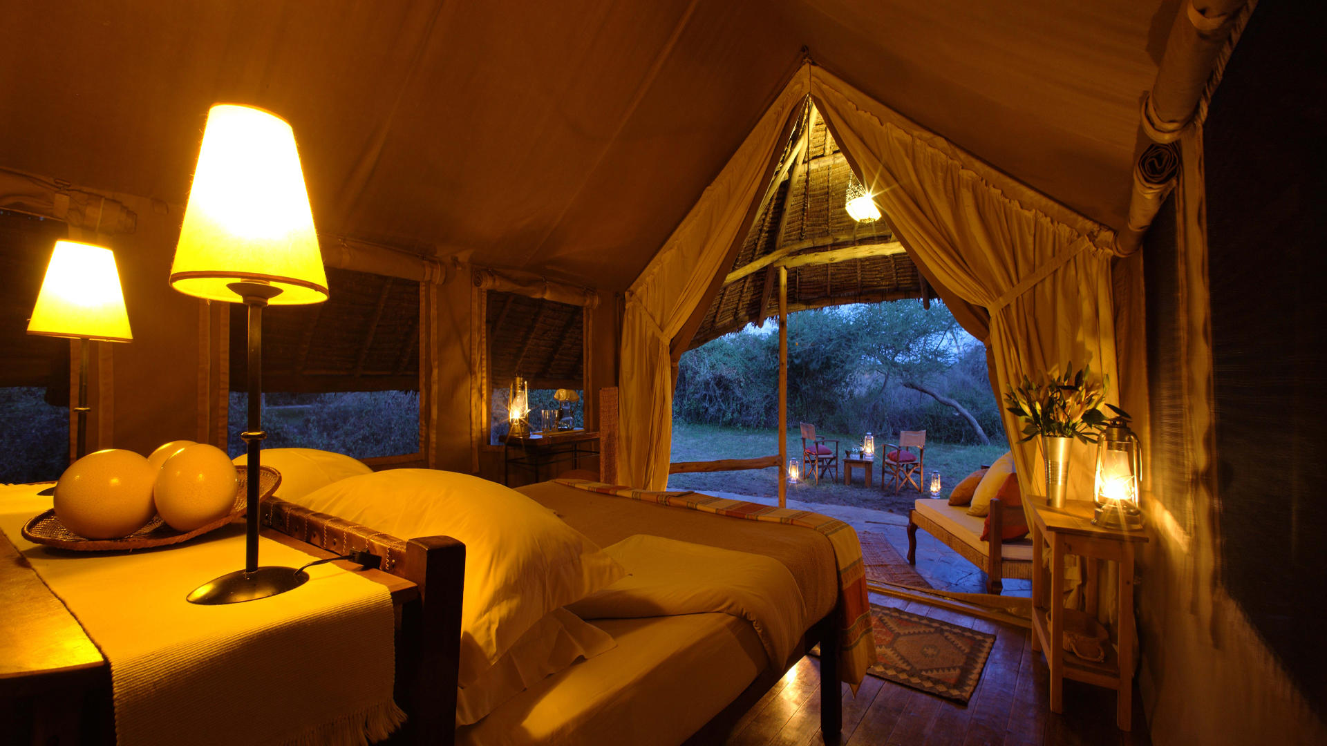 Tortilis-Camp-Amboseli---Double-Tent-at-Dusk