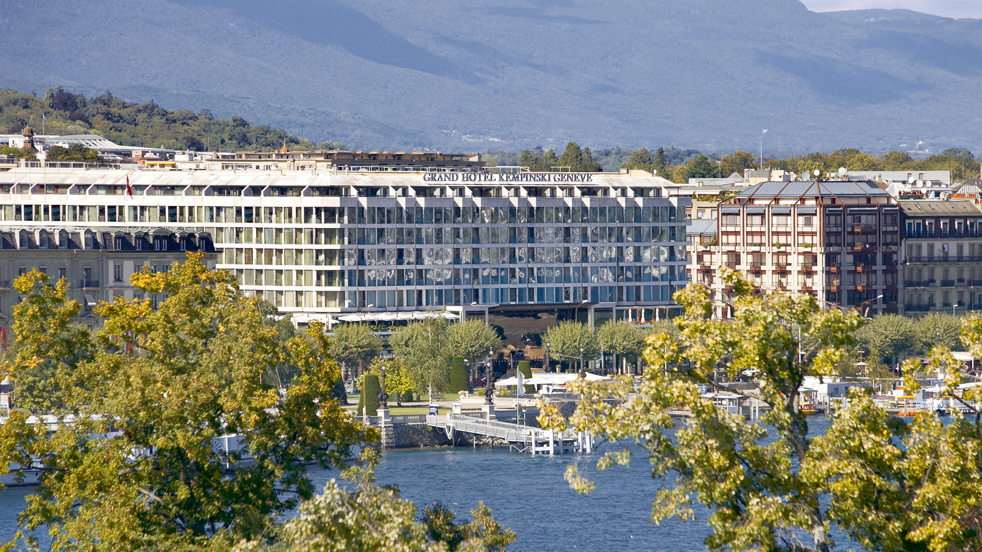 View to the Grand Hotel Kempinski Geneva