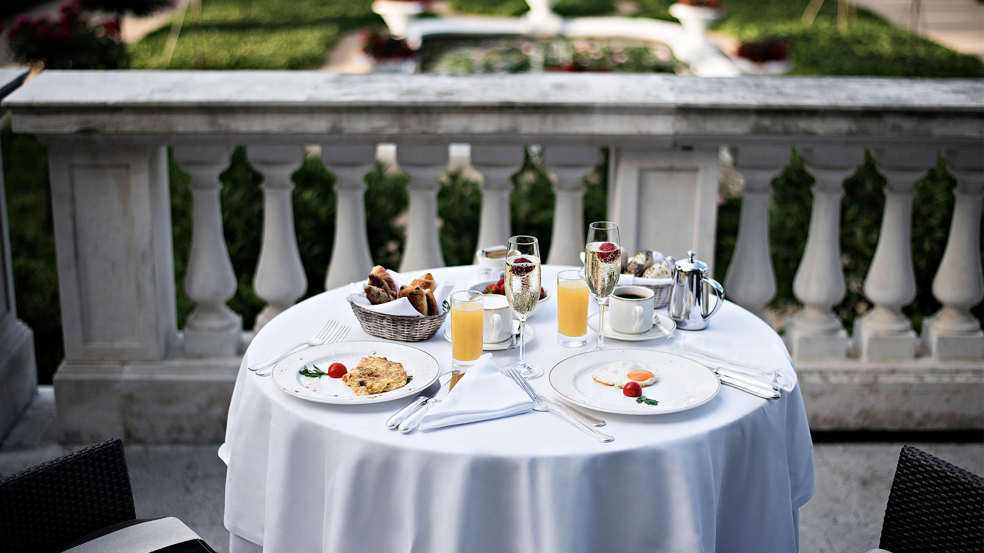 Breakfast on the terrace Kempinski Palace Portoroz Istria Slovenia