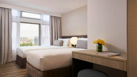 PARKROYAL_Serviced_Suites_Singapore_Twin_Bedroom